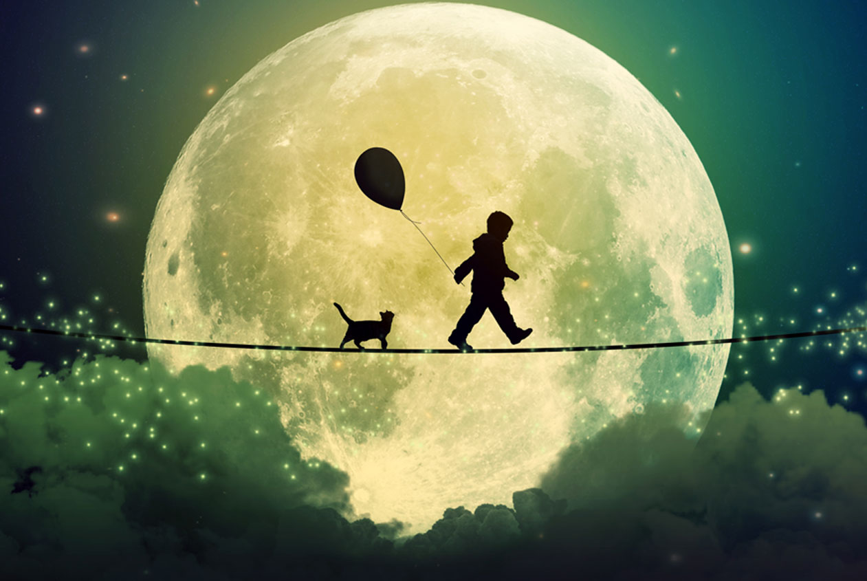 person and cat tighrope walking in front of moon